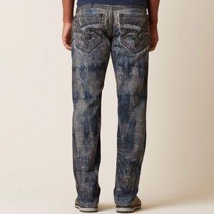 Rock Revival Mens 36 Pranit Straight Jeans Stretch